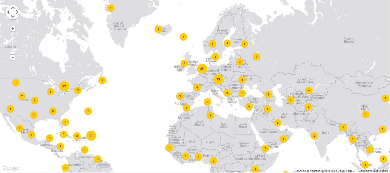 Répartition géographique des serveurs Hidemyass