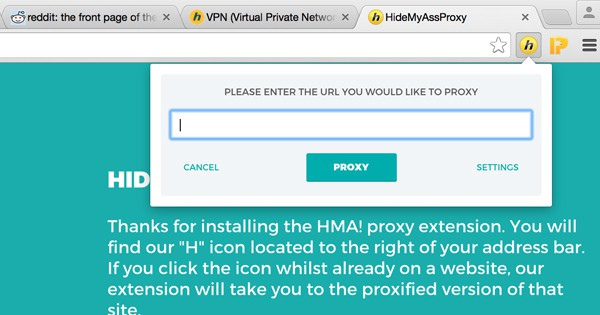 Extension HideMyAss : proxy