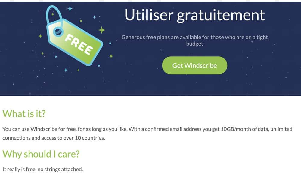 VPN gratuit Windscribe