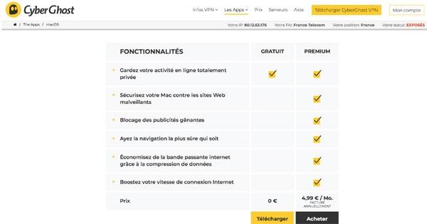Cyberghost gratuit premium