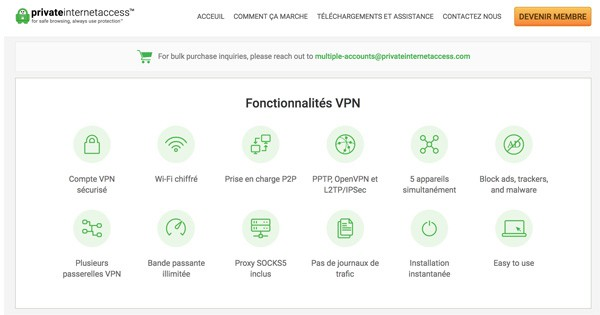 Fonctionnalités Private Internet Access