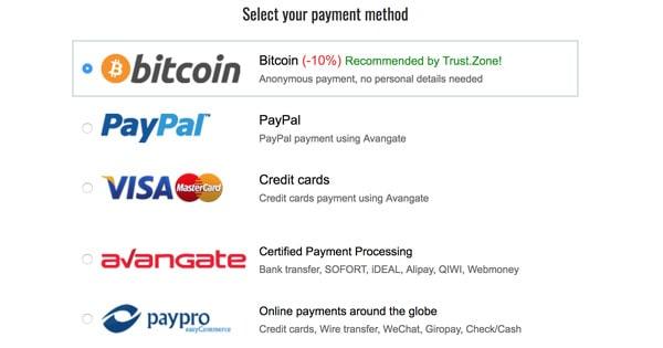 Moyens paiement Trust Zone
