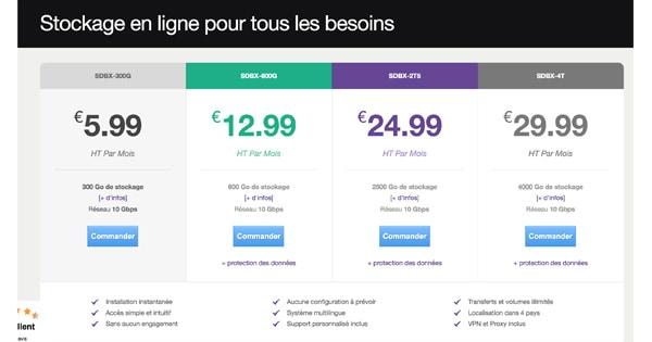 Tarifs Seedbox.fr