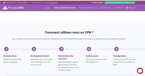 Utilisation PrivateVPN