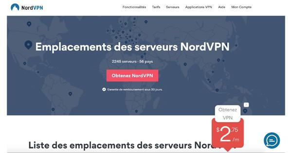 Choix pays NordVPN