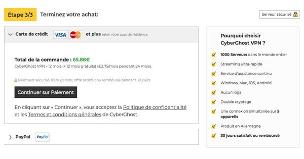 Moyens paiement Cyberghost