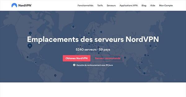 Pays couverts par NordVPN