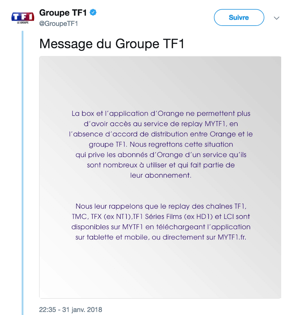 TF1 bloque TF1 en Replay