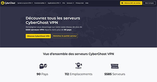 Pays couverts CyberGhost