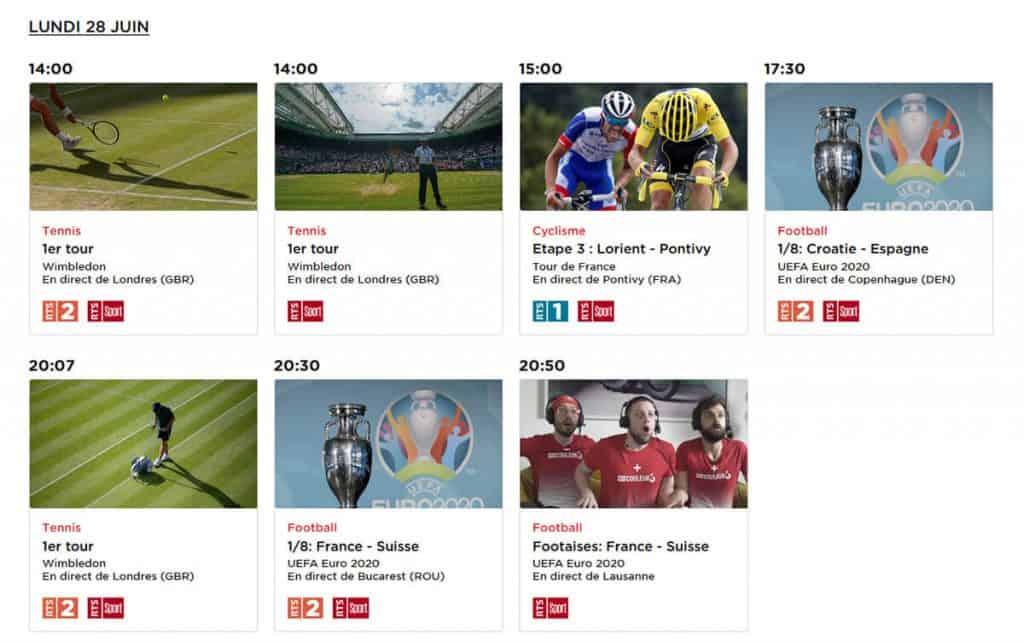 Programme TV RTS Wimbledon