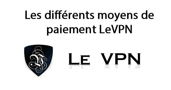 Moyens de paiement LeVPN