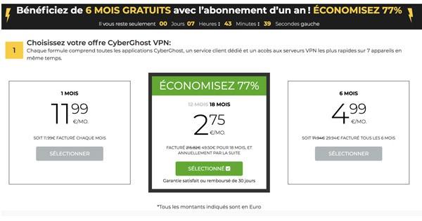 Offre 18 mois CyberGhost