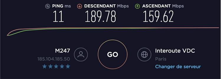 ExpressVPN test de vitesse