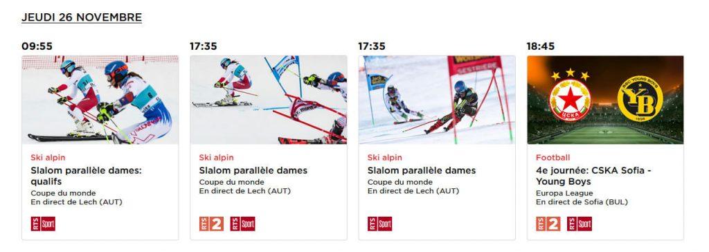 Programme Ski Alpin RTS Chaîne Gratuite