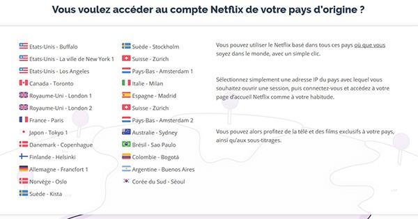 Serveurs Netflix PrivateVPN