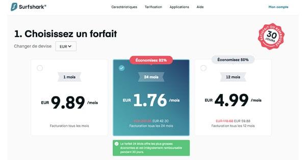 tarification surfshark