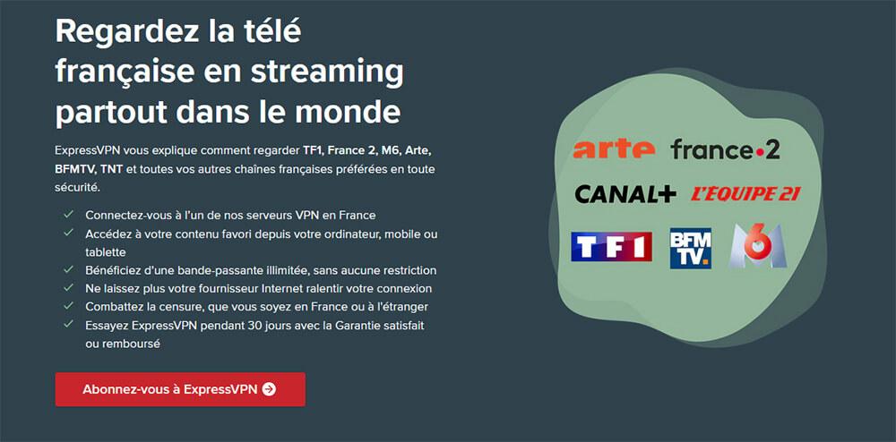 Débloquer TV française ExpressVPN