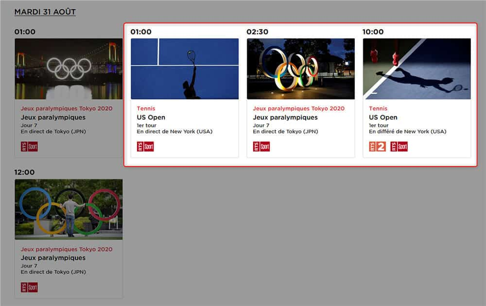 Programme TV RTS US Open 2021
