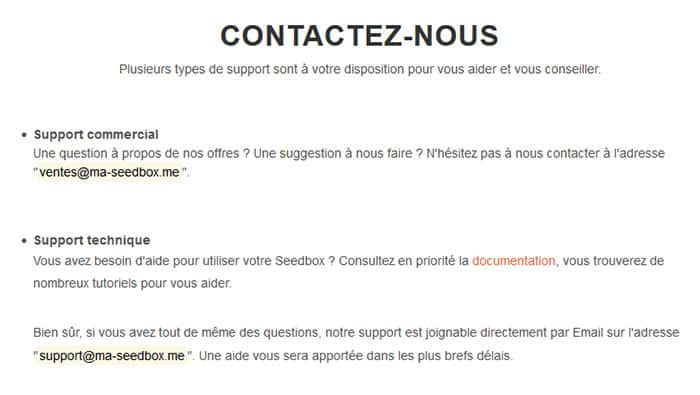 Meilleur seedbox support