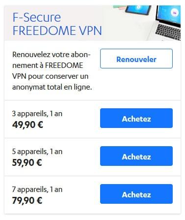 Prix F-Secure FREEDOME VPN