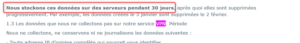 Conservation de logs AVG Secure VPN