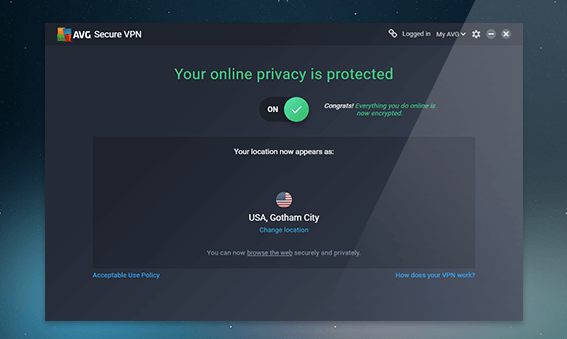 Interface application AVG Secure VPN