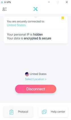 Interface application X-VPN