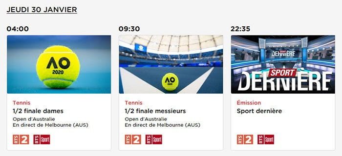 Programme TV Federer Djokovic