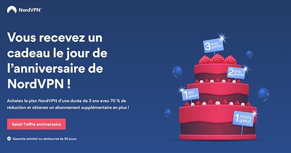 Promo anniversaire NordVPN : gagnez 1 mois, 1 an, 2 ans ou 3 ans d'abonnement !