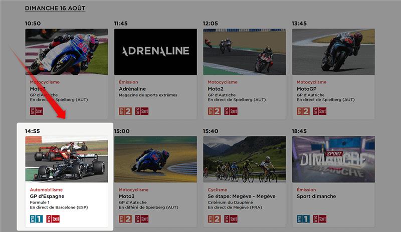 Programme TV RTS GP Espagne Formule 1