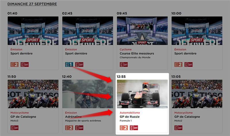 Programme RTS GP Russie Formule 1