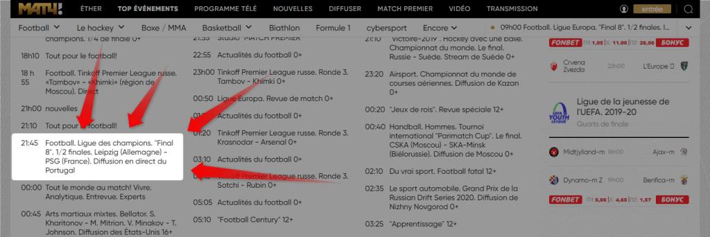 Programme TV Leipzig PSG MatchTV