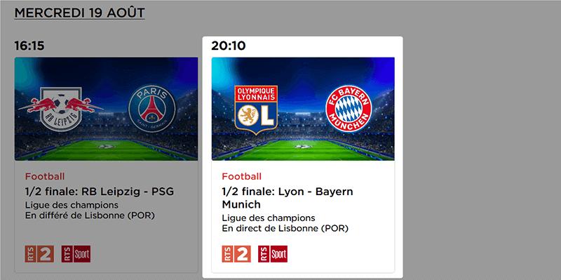Programme TV RTS Lyon Bayern