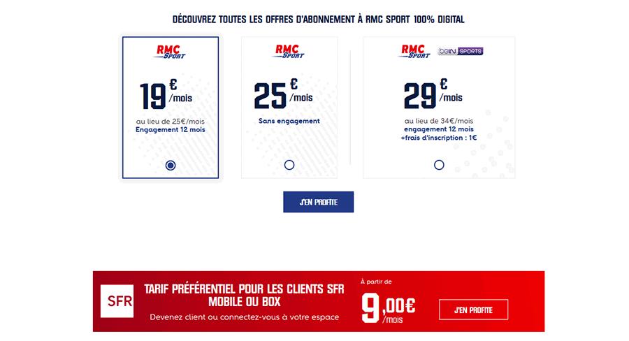 Tarifs RMC Sport