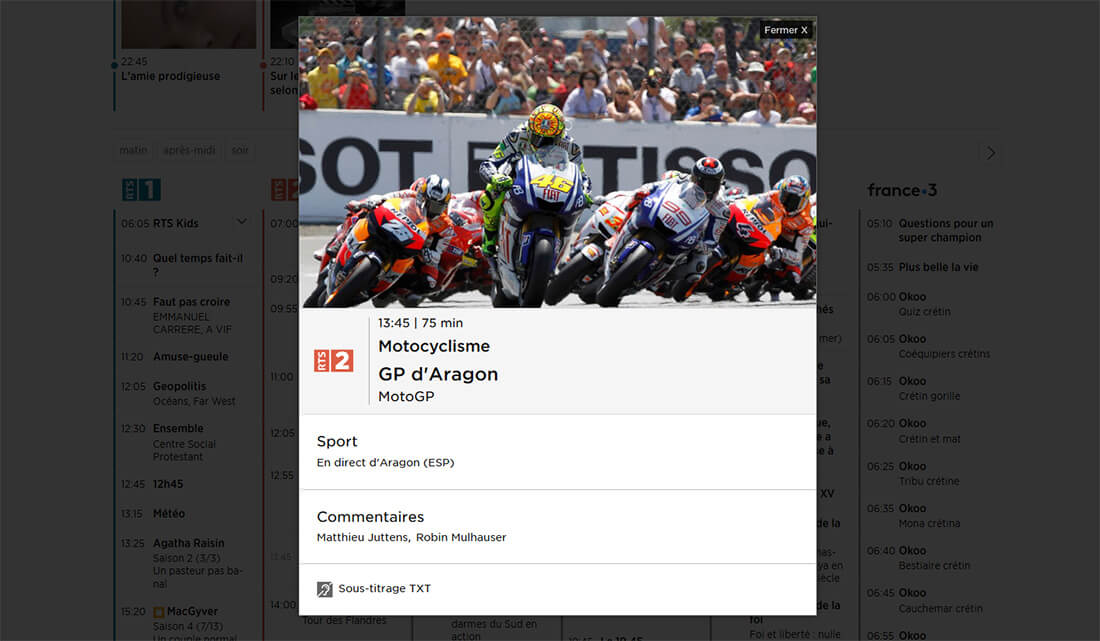 Programme RTS GP Aragon MotoGP