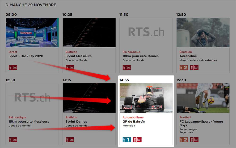 Programme RTS GP Formule 1 Bahrein