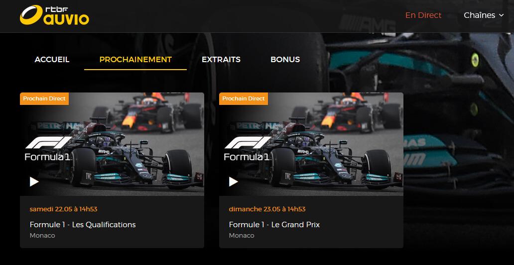 Programme TV RTBF GP Monaco F1