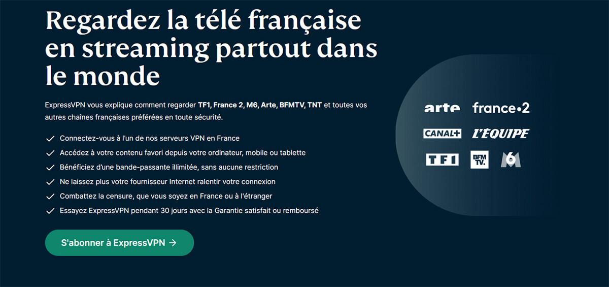 Regarder TV française direct ExpressVPN