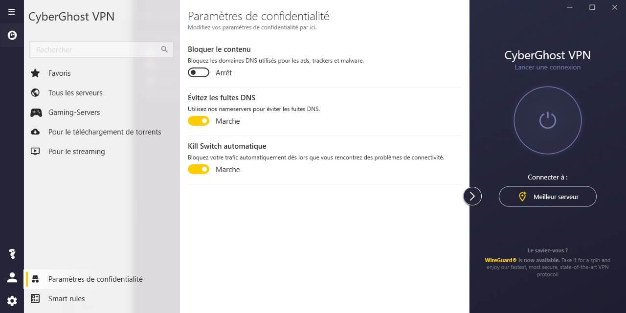 Confidentialité Application CyberGhost