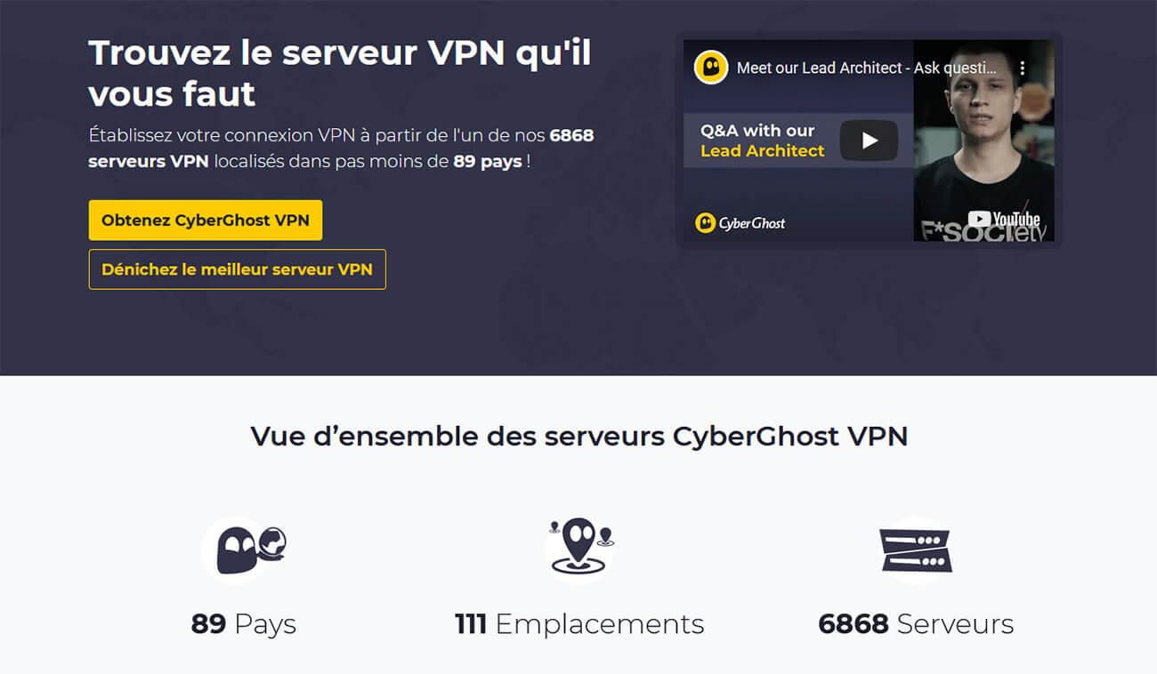 Serveurs VPN CyberGhost